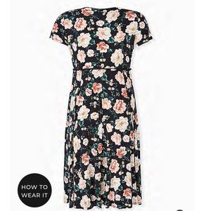BLACK FLORAL STUDIO KNIT BUTTON MIDI DRESS